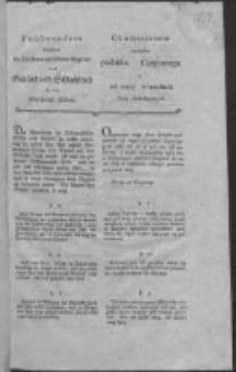 Obwieszczenie względem podatku Czopowego y od rzezy w miastach Prus Południowych