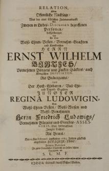Relation, oder Offentliche Nachsage, was bey einer Ehrlichen Zusammenkunfft von zweyen in Liebes-Discursen begriffenen Personen, auffgeschnappet und an des [...] Ernst Wilhem Bintzes [...] als Bräutigams, und der [...] Regina Ludowigin Des [...] Friedrich Ludowigs [...] Tochter als Braut, Den 23sten Februarii lauffenden 1683. Jahres [...] angestellten Hochzeit-Tage, Anderen Verliebten zu guter freundlicher Nachricht an hellen lichten Tag gegeben von S.L.M.F.