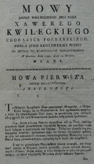 Mowy Jasnie Wielmoznego JMCi Pana Xawerego Kwileckiego chorążyca poznanskiego, posła Jego Krolewskiey Mosci na seymik do woiewództw wielkopolskich w Srzodzie Roku 1782. dnia 19. Sierpnia miane