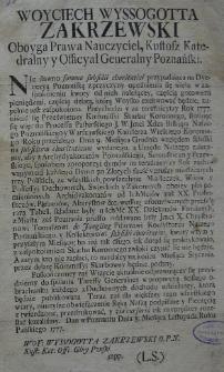 [Obwieszczenie. Poznań 8.03.1777]