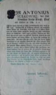 [Obwieszczenie Augusta Sułkowskiego 1772.IX]