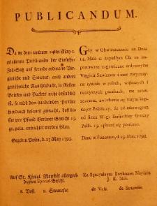 Publicandum [Uzupełnienie obwieszczenia z 14 maja 1793 o cłach tytoniowych]