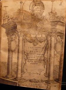 Sapientia quam Beato Francisco Borgiae pro festa suae beatificationis gratulatione inscripsit Stiborus Krzikowski eiusdem sapientiae alumnus