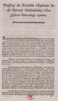 Przestrogi dla Kościołów i Kapłanów Archi-Dyecezyi Gnieźnieńskiej z Konsystorza Generalnego wydane