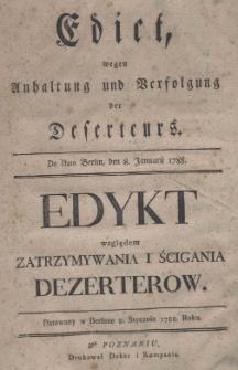 Edict, wegen Anhaltung und Verfolgung der Deserteurs. De Dato Berlin, den 8. Januarii 1788