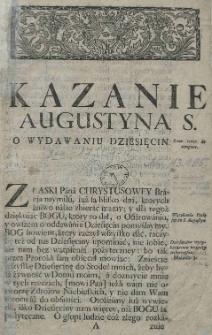 Kazanie Augustyna S. o wydawaniu dziesięcin
