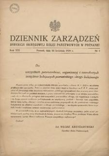 Dziennik Zarządzeń Dyrekcji Okręgowej Kolei Państwowych w Poznaniu. 1939.04.14 Nr3