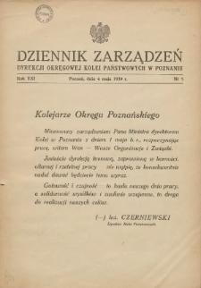 Dziennik Zarządzeń Dyrekcji Okręgowej Kolei Państwowych w Poznaniu. 1939.05.04 Nr5