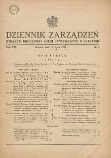Dziennik Zarządzeń Dyrekcji Okręgowej Kolei Państwowych w Poznaniu. 1939.07.19 Nr6