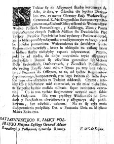 [Obwieszczenie w sprawie dostarczenia do Poznania podatku na wojsko stojące w Wielkopolsce]